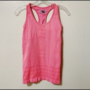 ATHLETA Pink Fitted Tank Top Aztec Print Tribal